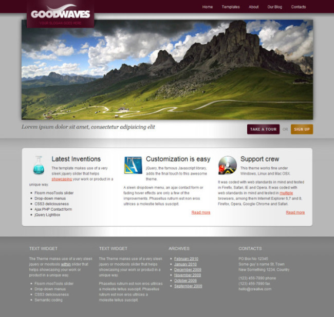 TotalWeb Partners Basic Theme Recommendation - Goodwaves with an Interactive Portfolio
