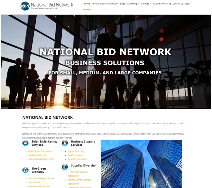 National Bid Network Website Homepage