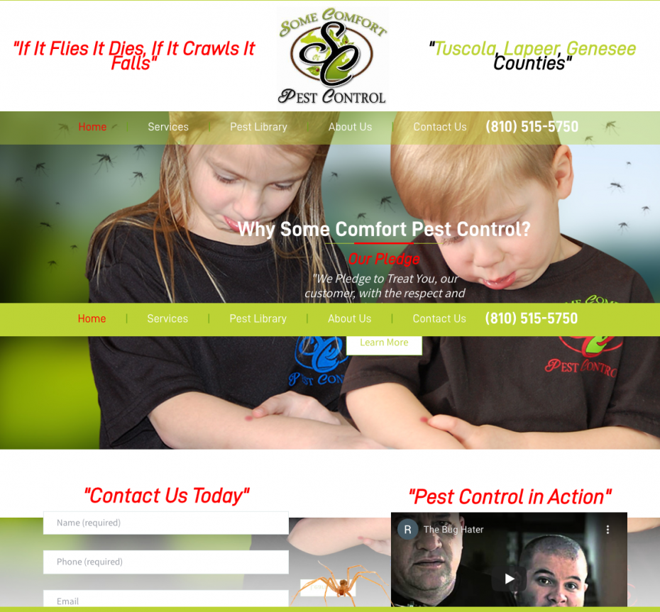 Some Comfort Pest Control Website Preview